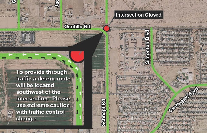 Ocotillo Rd and Schnepf Rd will be closed starting Sept 11th