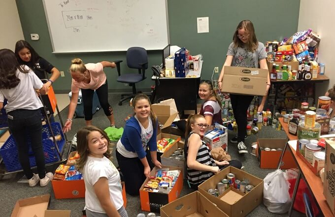 Combs Middle School collects more than 3,000 nonperishable items
