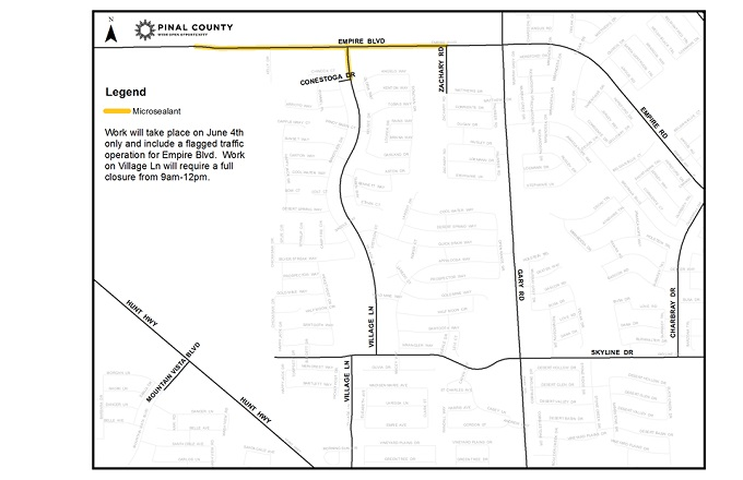 Traffic Alert: Microsealant on Empire Blvd and Village Ln June 4th