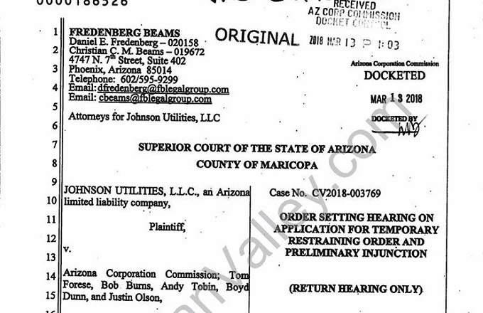 Johnson Utilities Files Restraining Order Against Arizona Corporation Commission
